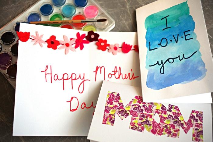 trois idées pour réaliser une carte pour fête des mères facile avec les enfants à l'école maternelle, modèles de cartes personnalisées pour la fête des mères à motif fleuri ou aquarelle