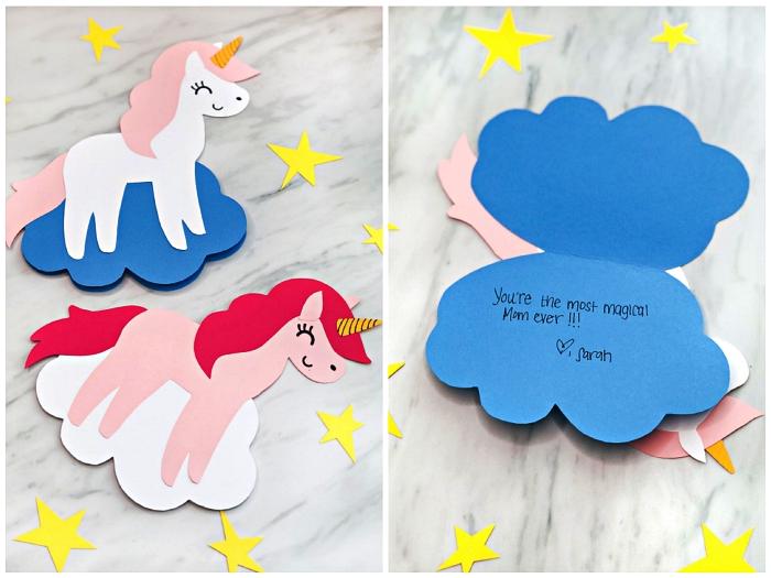 carte bonne fete avec prenom et message personnalisée, carte de voeux pour la fête des mères à imprimer en forme de licorne