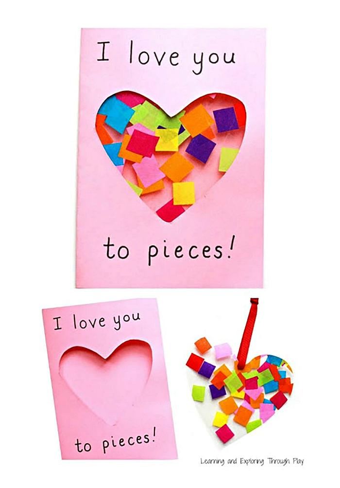 idée de cadeau fête des mères a faire soi meme, carte à découpe coeur décorée avec des confettis multicolores