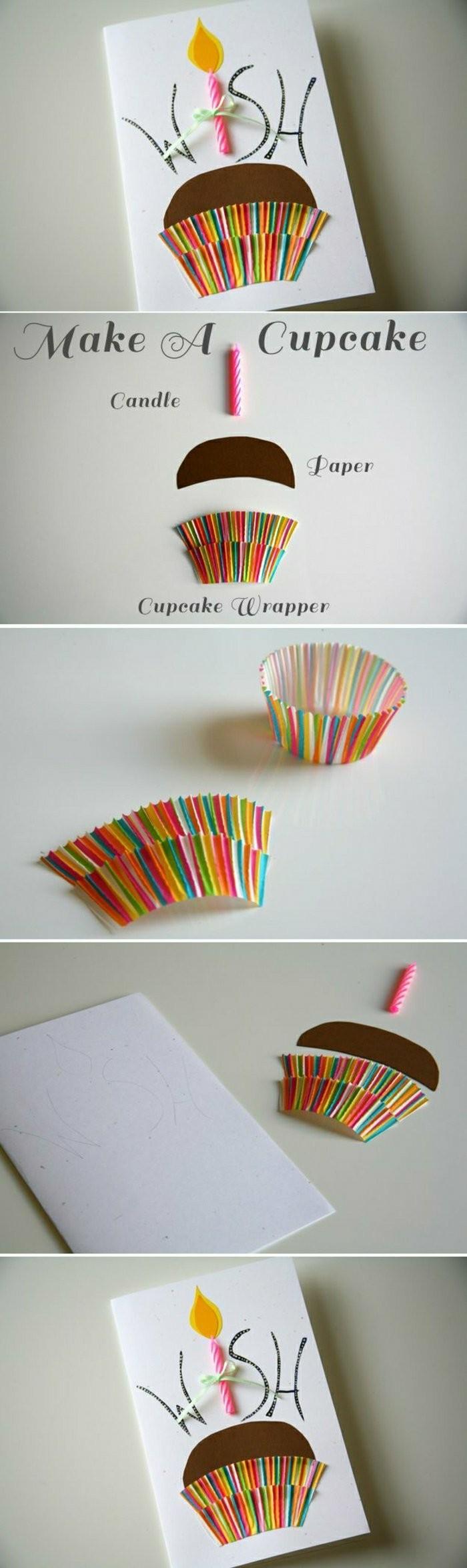 créer une carte d'anniversaire originale décorée d'un muffin réalisé avec du papier et une caissette à muffin