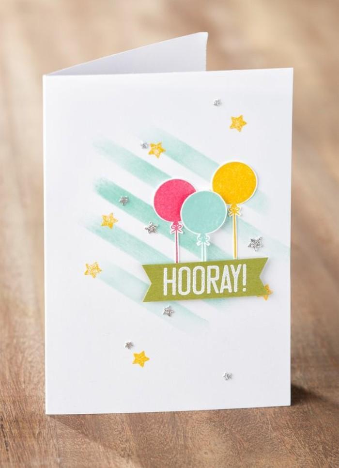 idée pour créer une carte d'invitation facile, carte de voeux étoilée décorée de ballons en papier scrapbooking