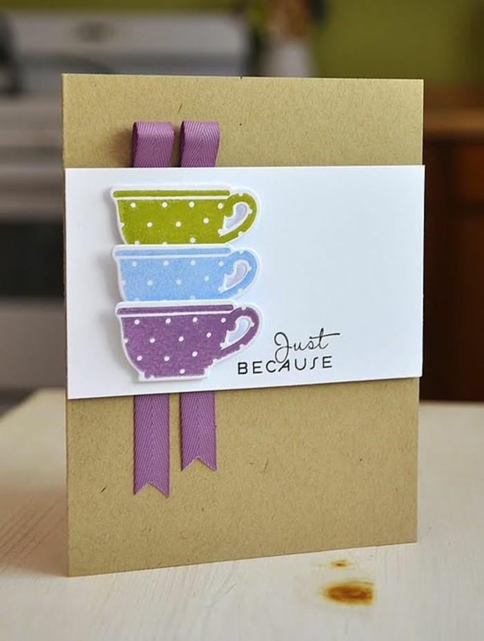 carte d'anniversaire scrapbooking en papier kraft décorée de tasses à thés en relief découpées
