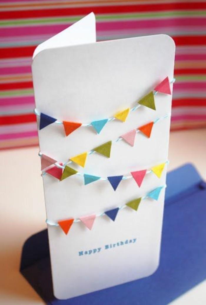 petite guirlande à fanions pour décorer une carte d'anniversaire enfant, carte de voeux personnalisée décorée de fanions