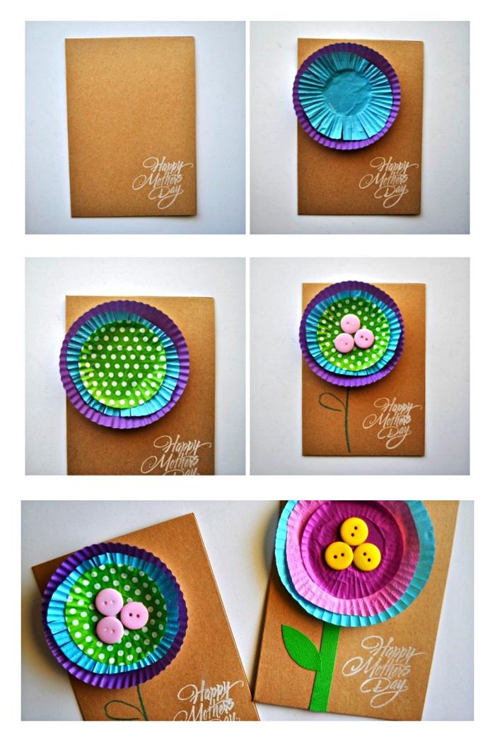 idée de cadeau fête des mères maternelle, carte faite-maison en papier kraft décorée d'une fleur réalisée avec des caissettes à muffins