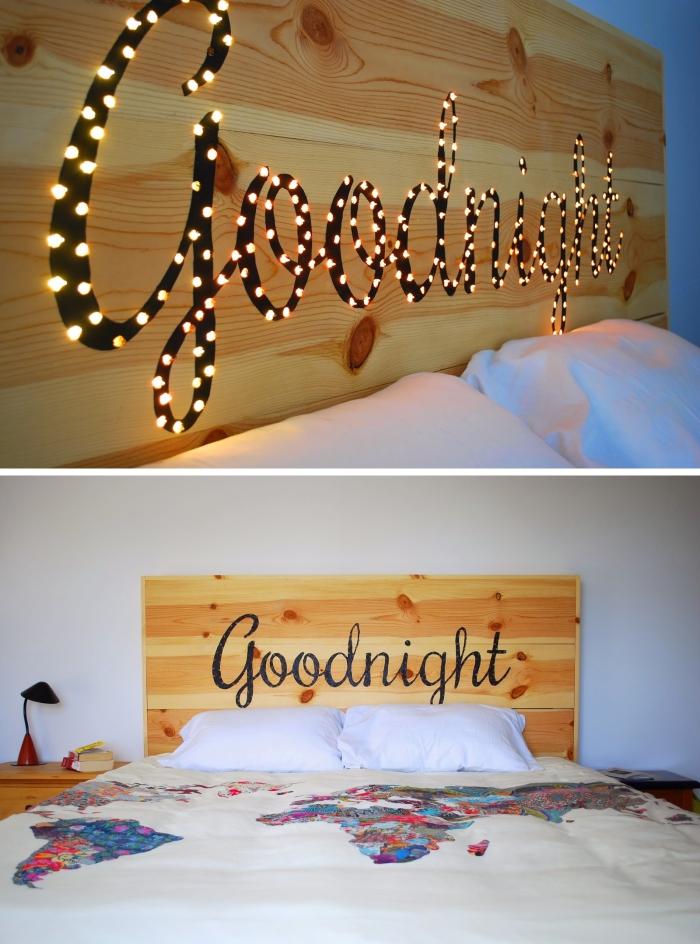 technique gravure lazer sur bois, tete de lit a faire soi meme avec bois, chambre à coucher blanche et bois moderne