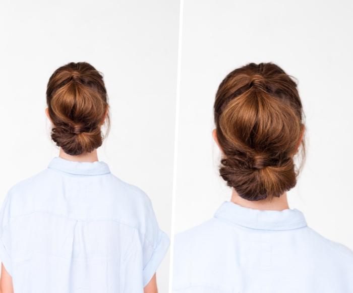coiffure simple cheveux long, cheveux en volume bombés couleur chatain clair, double queue de cheval, chemise femme sans manches