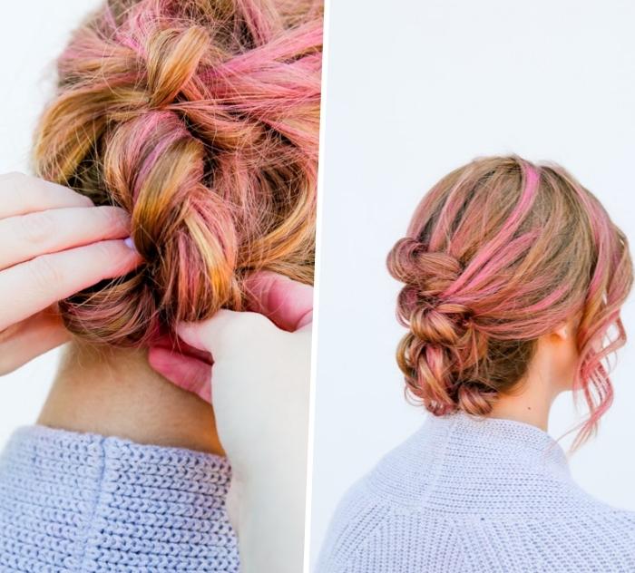 modele de coiffure femme chignon banane tressé avec des mèches roses sur cheveux chatain clair, coiffure boheme chic originale