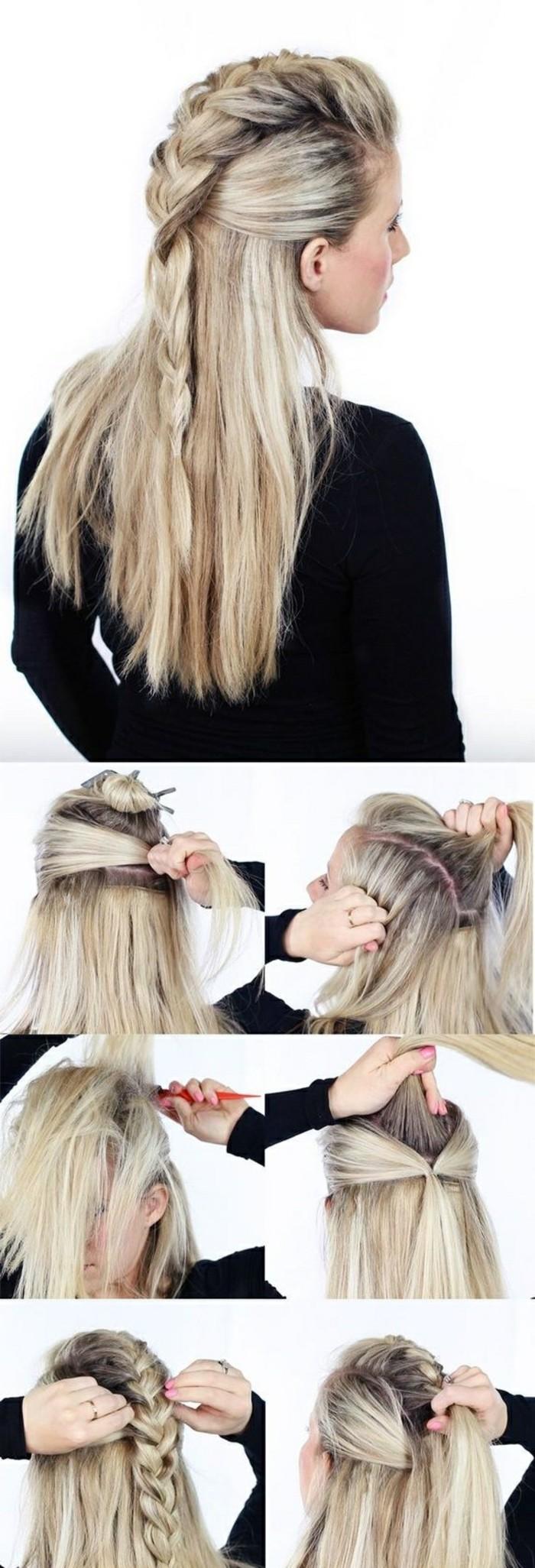 idée de coiffure avec tresse au milieu et des mèches lisses coloration blonde et racines foncées, technique tutoriel pour tresser ses cheveux