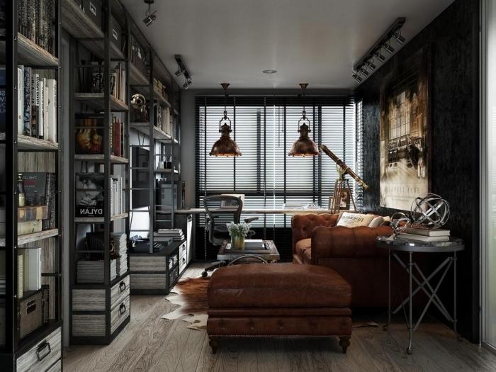comment aménager un coin bureau à domicile en style industriel, idée meuble style industriel en cuir marron foncé