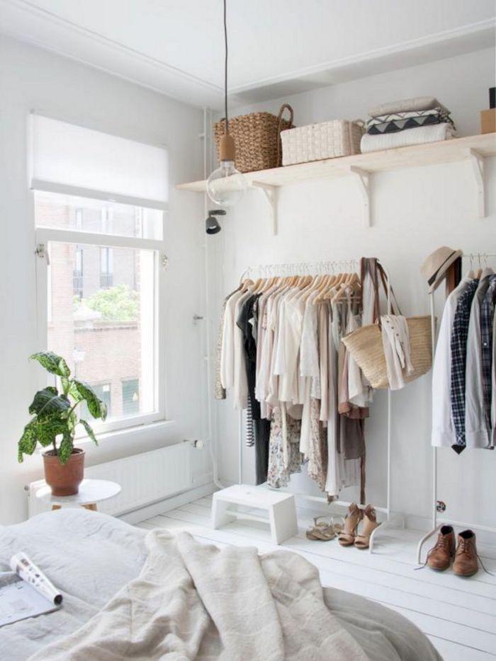 Dressing ouvert, rangement vetements, idée comment ranger sa chambre, idée rangement chambre, plante verte, chaussures et vetements