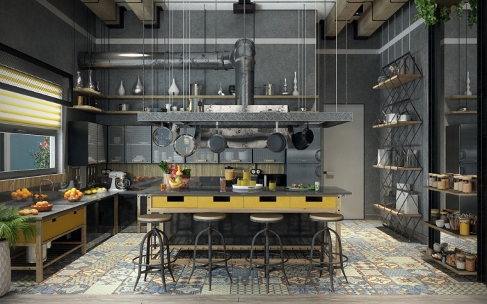aménagement loft industriel aux murs béton avec meubles bois et métal, idée cuisine avec carreaux de ciment