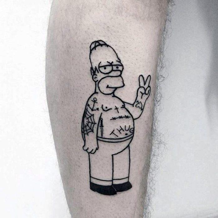 Homer thug vie tatouage animation, tatouage dessin original, swag idée à se tatouer, simpson theme tatouage
