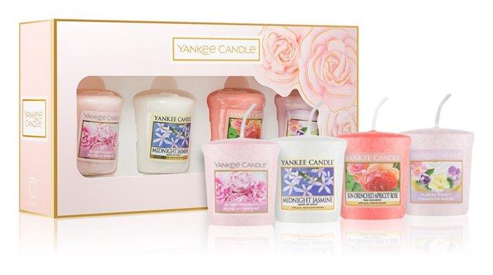 yankee candle, idée de coffret cadeau femme de bougies aromatiques avec quatres bougies parfum fleurs