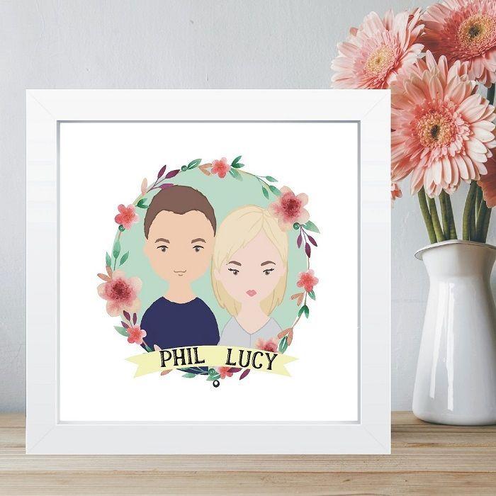 Cadre photo illustration, idée cadeau pour mariage, coffret cadeau couple, idée diy simple
