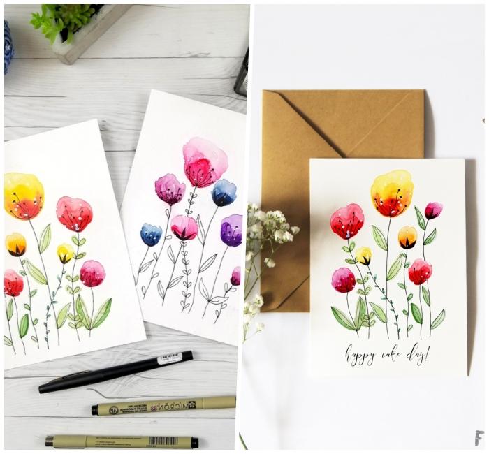 idée de carte d'anniversaire à faire soi même, carte de voeux personnalisée avec dessin de fleurs à l'aquarelle et lettrage manuscrit noir