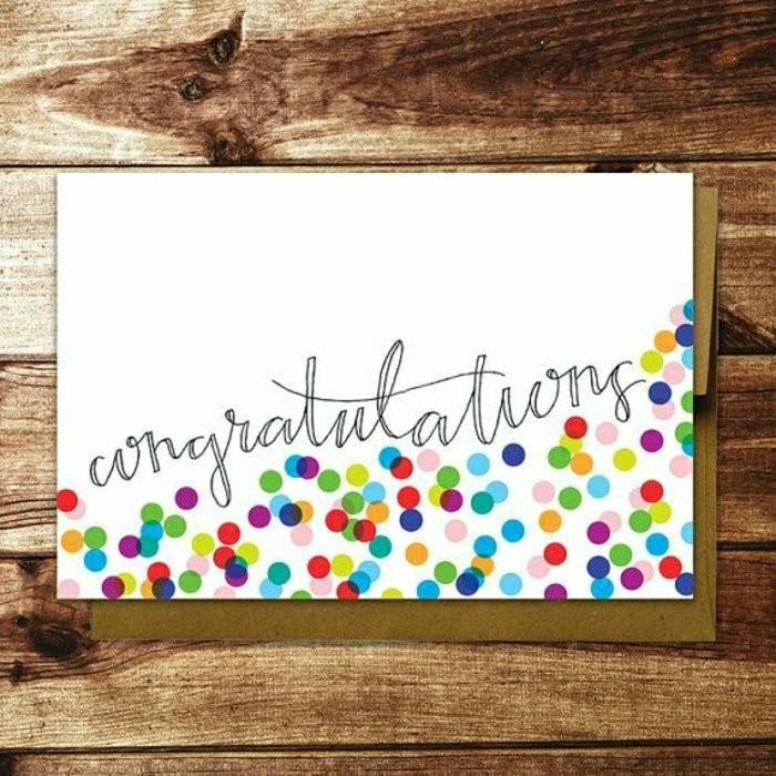 idée pour faire une carte d'anniversaire personnalisée carte de voeux confettis multicolores à l'écriture manuscrite
