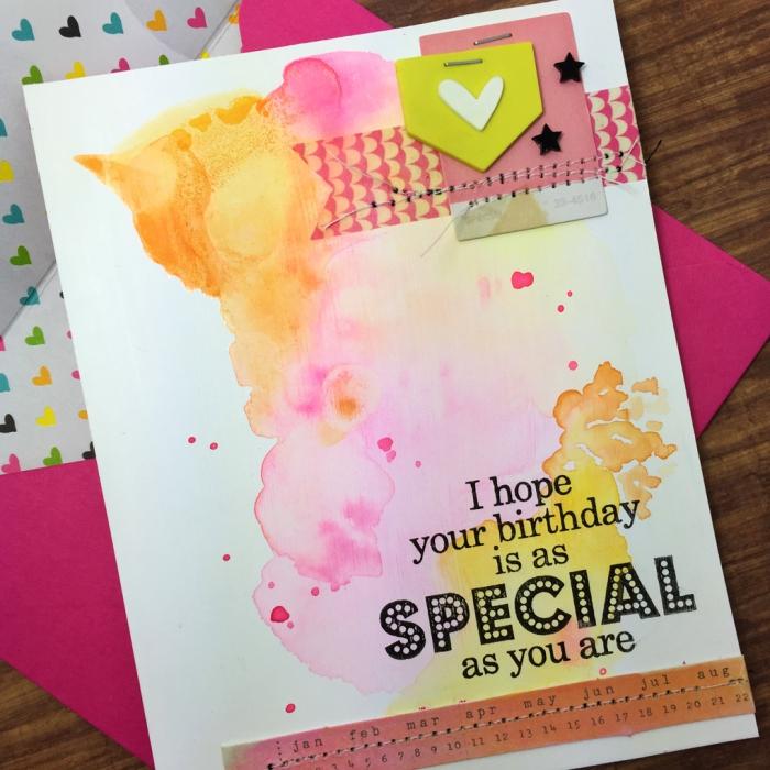 jolie carte d'anniversaire fille personnalisée à effet tâches d'aquarelle et à motifs scrapbooking avec message pesonnalisé