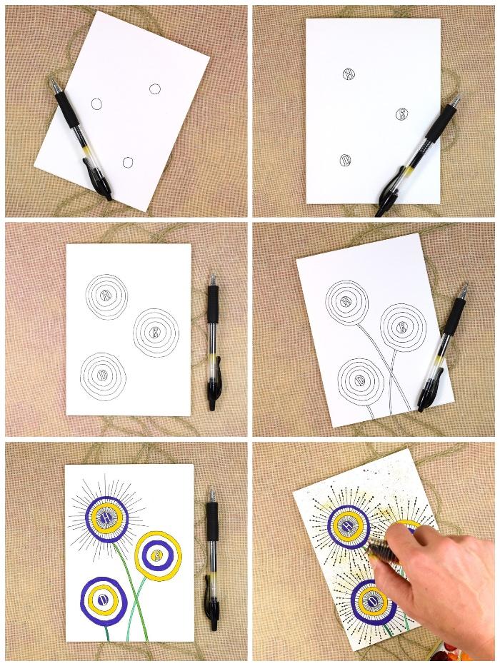 tutoriel pour créer une carte d'anniversaire personnalisée à dessins floraux colorés, modèle de carte d'anniversaire à motifs floraux graphiques dessinés à la main