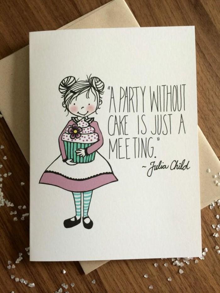 carte de voeux à dessin d'anniversaire petite fille tenant un cupcake accompagnée d'une citation inspirante