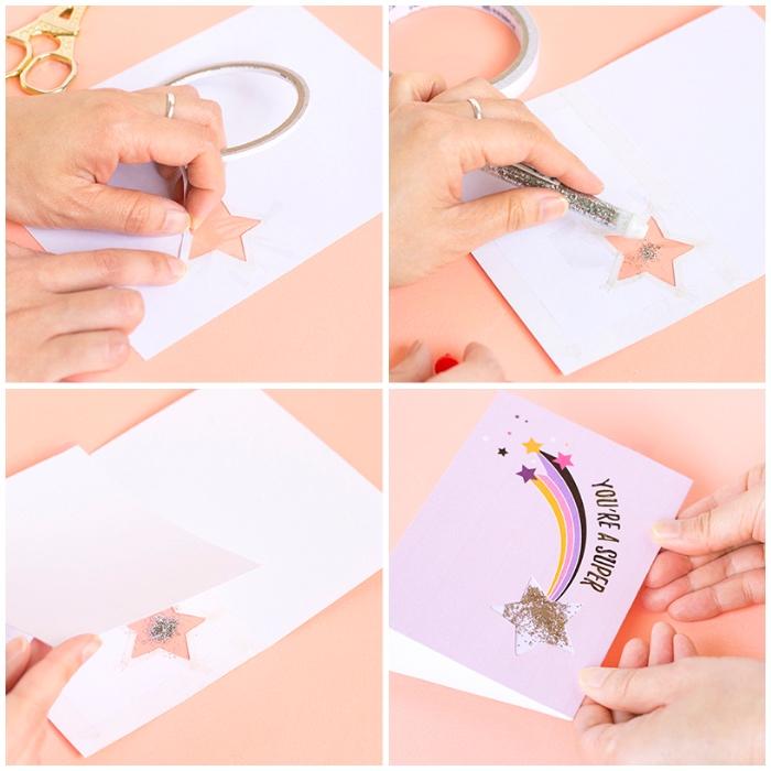 fabriquer une carte d'anniversaire à partir d'un modèle à imprimer, carte de voeux rose à dessin étoile filante