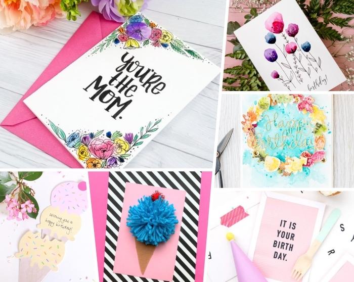 jolies cartes anniversaire à réaliser soi même avec détails déco en aquarelle, laine ou papier, carte de voeux personnalisée pour fille