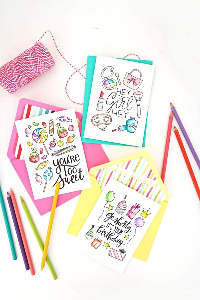 jolies cartes anniversaire à motifs gourmands, modèles de carte d'anniversaire girly à imprimer et à colorier