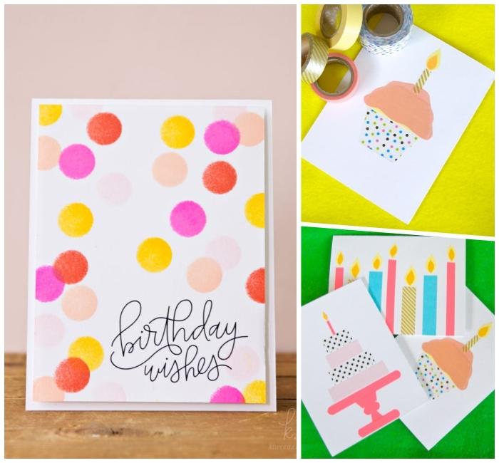 jolies cartes anniversaire à motifs colorés réalisés à l'aquarelle ou en masking tape, idées de carte de voeux à faire soi même