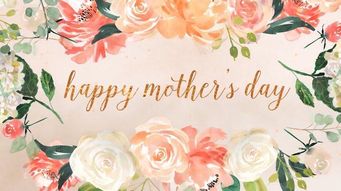 Carte dessin fleurs, les plus belles images fête des mères, texte pour la fete des mere, fleur rose aquarelle