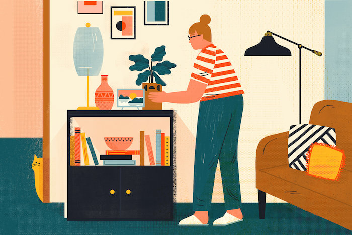 Femme qui fair le menage dans sa chambre, salon dessin chat et canapé, ranger sa chambre clipart, comment bien ranger sa chambre style scandinave