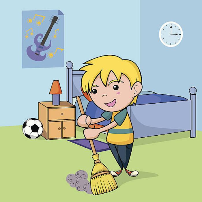 Ranger sa chambre clipart, astuce rangement chambre minimaliste, enfant blond qui fair le menage dans sa chambre