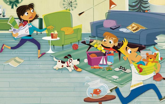 Clipart astuce rangement chambre, comment bien ranger sa chambre, salle de séjour dessin enfant jouer chien