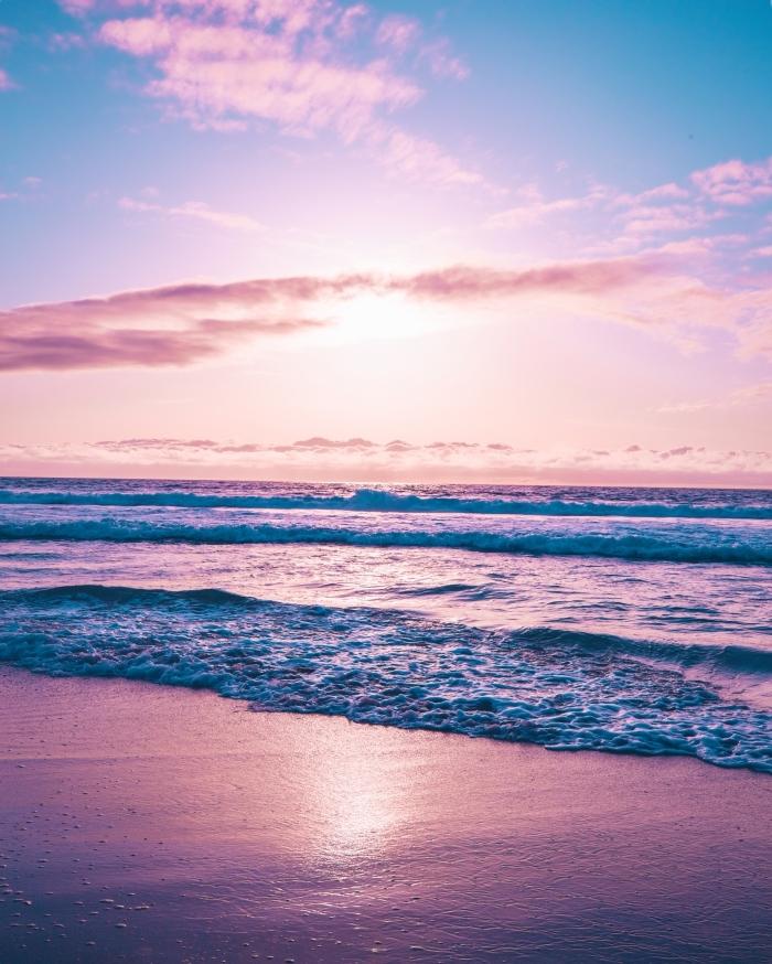comment prendre de magnifiques photos au lever du soleil, exemple wallpaper rose mer pour téléphone portable