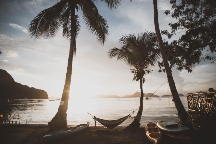 exemple fond d écran magnifique, photo île avec palmiers au lever du soleil, idée photo paysage naturel au bord de mer