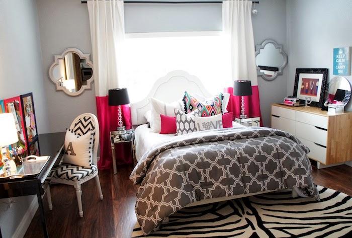 Chambre rose blanc et noir, lit avec rangement, comment bien ranger sa chambre et la décorer joliment, idée déco chambre fille ado