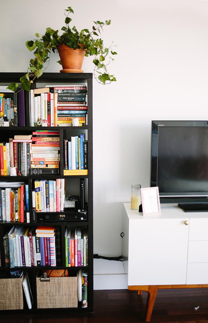 Livres etagere rangement, ranger sa chambre, décoration simple, meuble tv blanc style vintage, plante verte decorative