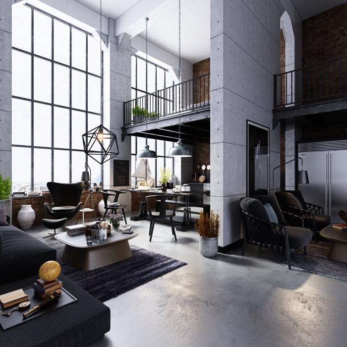 comment décorer un espace loft industriel, deco murale industrielle avec panneaux béton, modèle de tapis noir