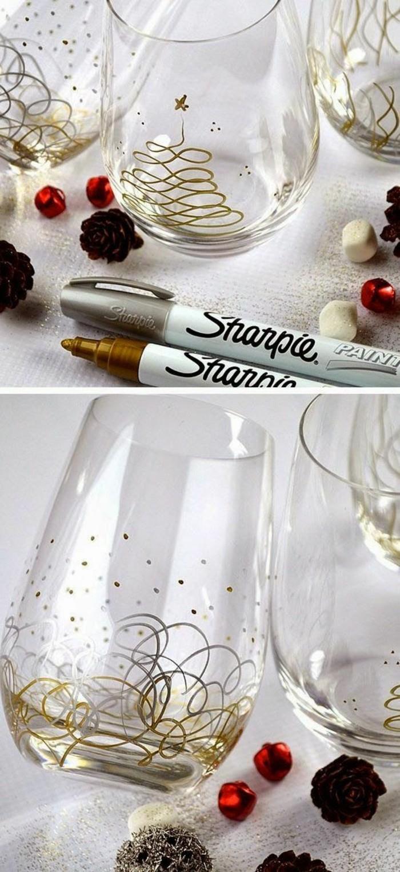 comment peindre des verres avec marquer or ou argent, idée cadeau de Noël facile, activité manuelle pour Noël