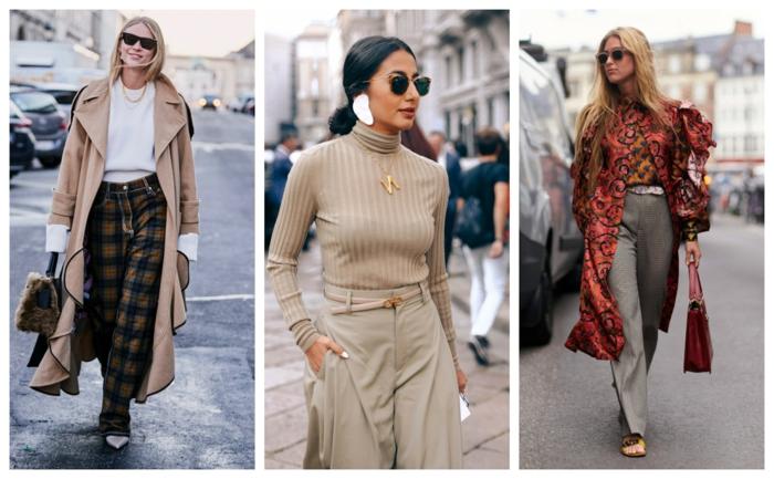 look année 2019, saison printemps-été, manteau beige, pantalon aux carreaux, pull beige, collier pendentif et ceinture en couleur or