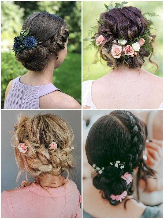 coiffure mariage chignon fleuri bohème chic porté en bas de la nuque, coiffure de mariée tendance