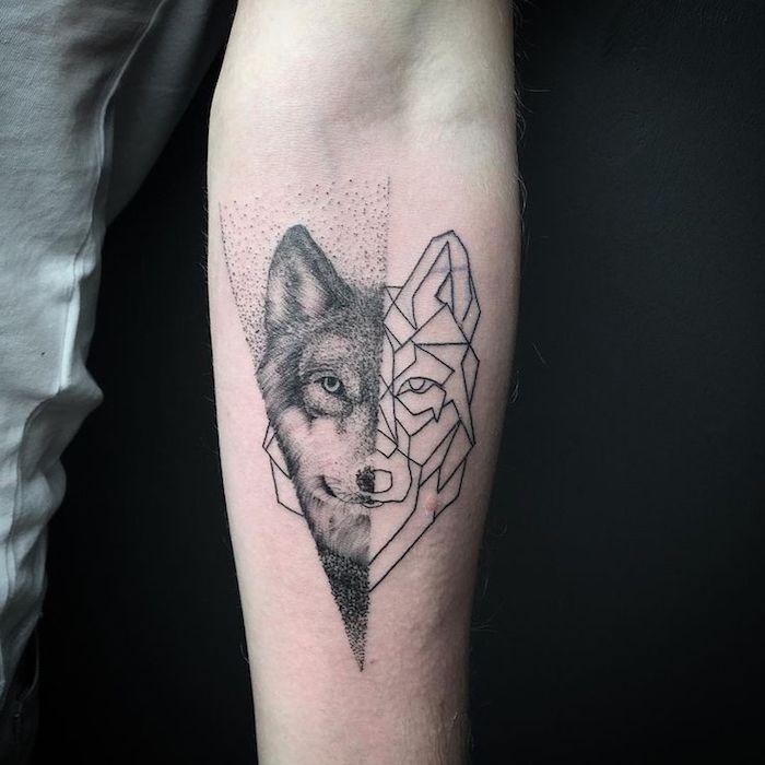 Loup géométrique dessin tatouage et loup réaliste, tatouage swag animaliste, modèle à choisir