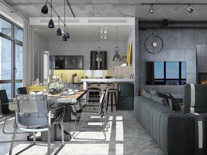 quelle couleur pour les murs dans un appartement loft industriel, aménagement salle à manger avec meubles en bois et fer