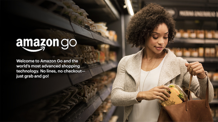 image promotionnelle des magasins Amazon Go avec paiement automatique qui devraient dorénavant instaurer des caisses