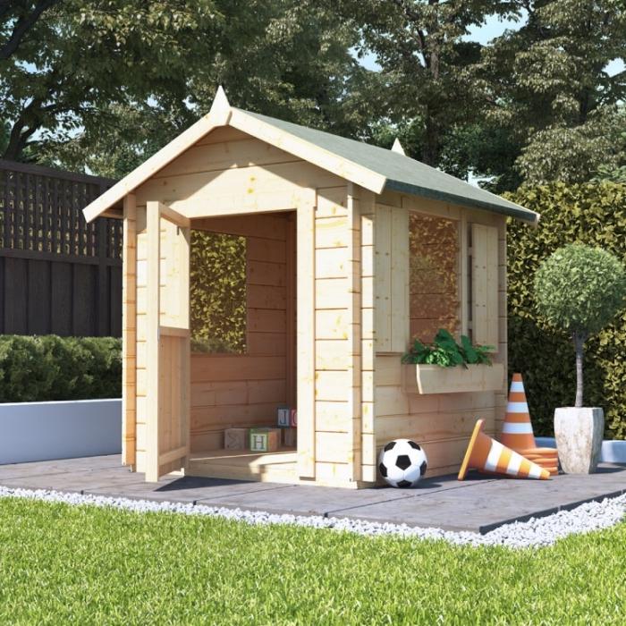idée cabane de jardin enfant, petite maison en bois à faire soi-même, modèle abri de jardin DIY avec fenêtre volets