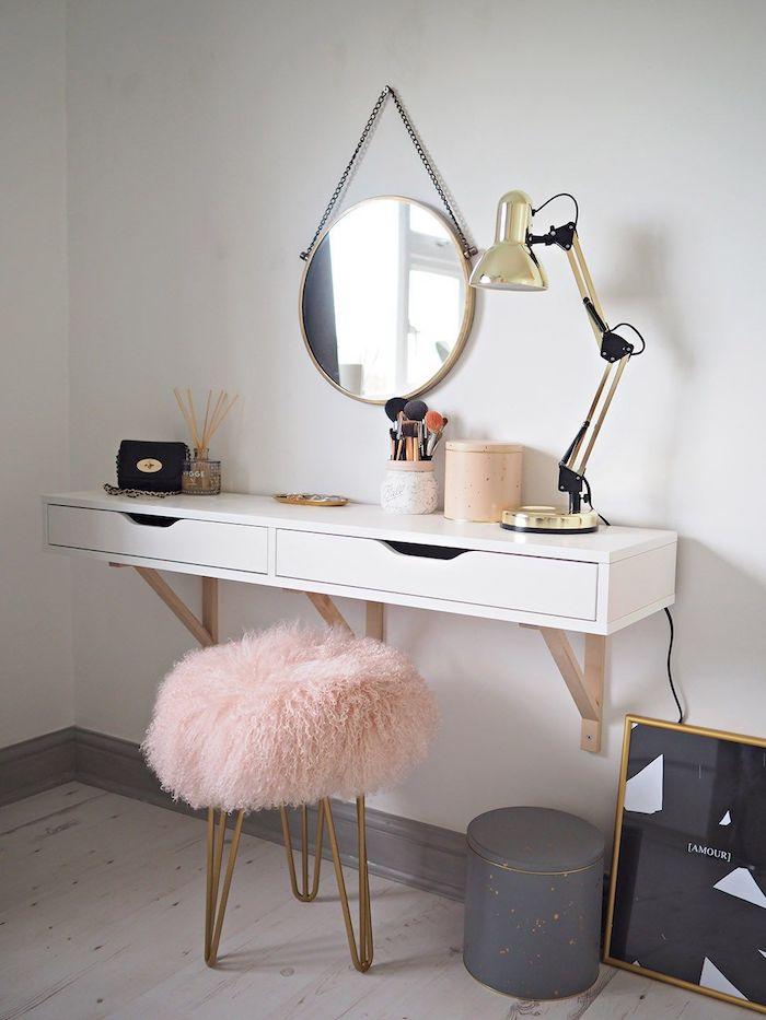 Idée table de maquillage simple, aménagement la plus belle chambre 10m2, comment bien ranger sa chambre