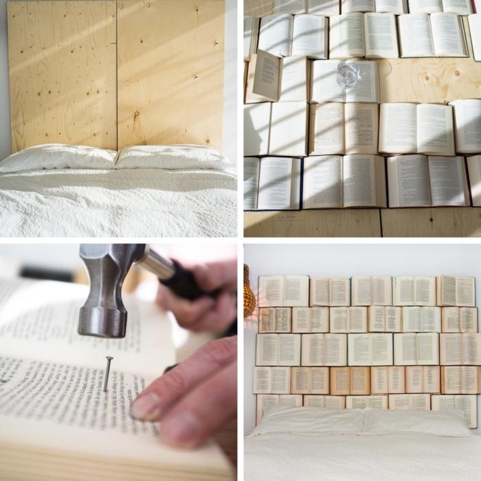 étapes à suivre pour faire une tete de lit avec livres, comment fixer des livres sur un contreplaqué pour réaliser tête de lit