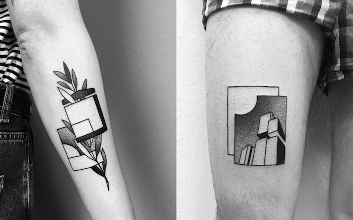 Géométrique tatouage minimaliste, idées comment se tatouer motif tatouage carrés géométriques, dessin tatouage phrase, idée comment se tatouer