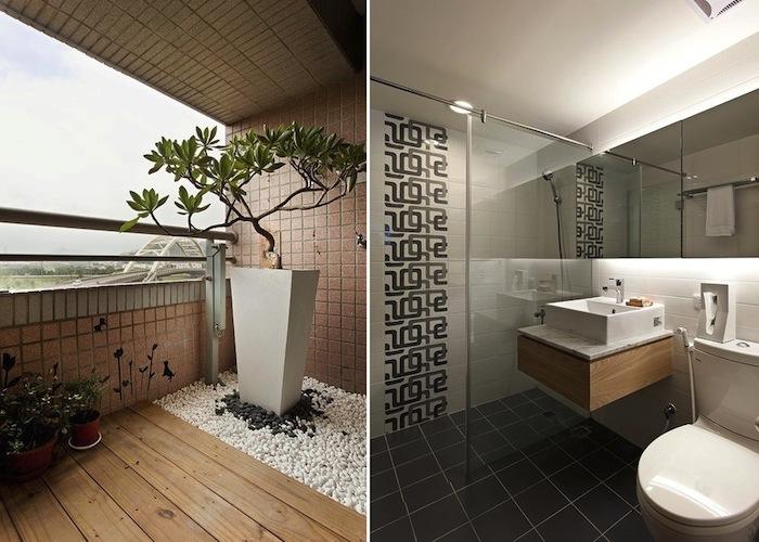Deco salle de bain zen, les plus belles salles de bains du monde, balcon grand avec plante verte arbre