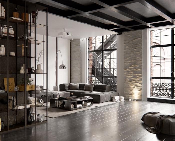 quelle couleur pour un salon style industriel moderne, idée déco en gris foncé et blanc, exemple meuble de rangement en métal