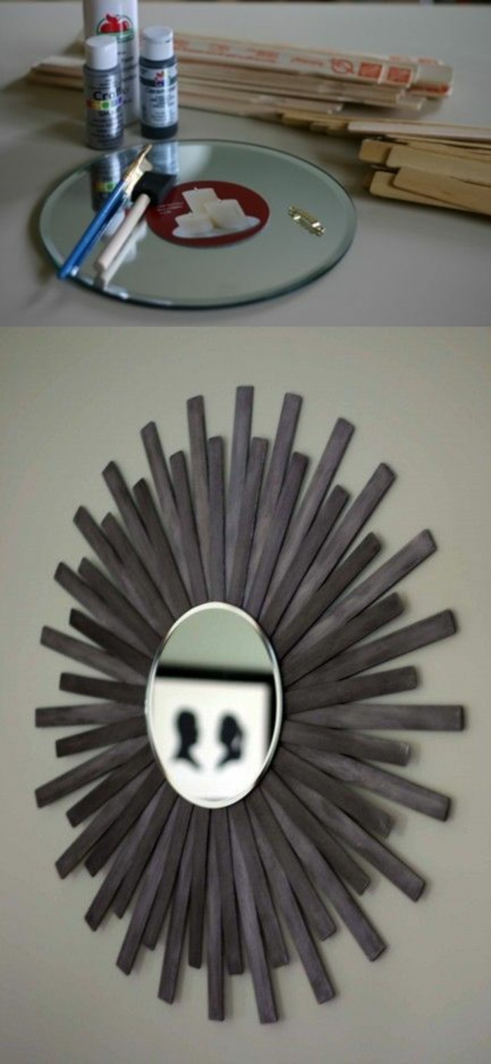miroir soleil avec lattes de bois, déco à accrocher au mur, idée de bricolage