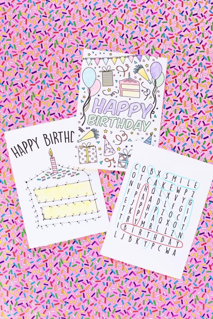 trois modèles de cartes de voeux originales avec jeu de mots mêlés, de points à relier ou de coloriage, idées de carte anniversaire enfant personnalisée